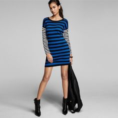 $70 NEW EXPRESS ZIPPER MIX STRIPE SWEATER DRESS BLACK AND BLUE  SIZE SMALL #Express #SweaterDress