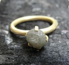 Ring  18K Gold & Rough Diamond Engagement Ring  by AurumJewelry, $690.00