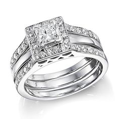 $1,774  -  1.15 CARATS PRINCESS CUT DIAMOND HALO TRIPLE BAND ENGAGEMENT RING ON 14K SOLID WHITE GOLD F 26 D http://www.amazon.com/dp/B00OQQN9HK/ref=cm_sw_r_pi_dp_E5Nyub10B89QX