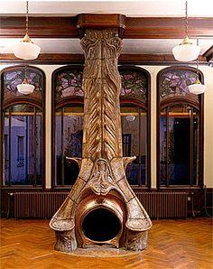 Art Nouveau fireplace, The Villa Majorelle 1898, Alexandre Bigot.