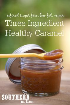 Three Ingredient Healthy Caramel Sauce. This caramel sauce is super simple to make with just three ingredients AND it is healthy too! What more could you want?! It is low fat, gluten free, clean eating friendly, refined sugar free, vegan, dairy free and guilt free!