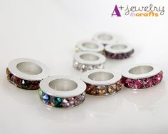Ring shaped silver beads silver color by APlusJewelryCrafts