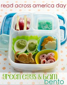 Easy Green Eggs and Ham Bento #drseuss #bento #easylunchbox