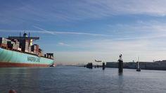 Morring Ebba Maersk in Port of Hamburg at the so called Finkenwerder Pfaehle