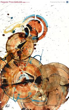 50% OFF Selected Items - Modern Abstract Original Art and Contemporary Paintings -- Round Circles Round We Go. $22.50, via Etsy.
