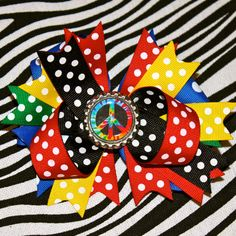 Peace Hair Bow by MegansHairCandy on Etsy, $8.50