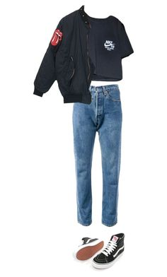"""""""chillin"""" by rojinnn ❤ liked on Polyvore featuring Levi's, NIKE and Vans"""