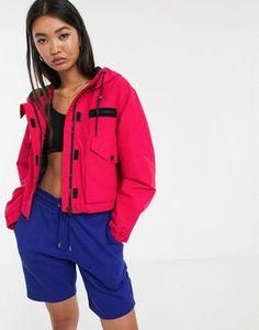 Bershka zip up jacket with hood in pink