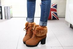 Made from premium faux PU leather (no animals harmed), plush and rubber. Heel height: Free Worldwide Shipping & Money-Back Guarantee US SIZE EU SIZE LENGTH 4 35 5 36 9 6 37 7 38 8 39 Note: Sizes are in inches. Winter Fashion Boots, Winter Shoes, Fur Boots, Snow Boots, Brown Ankle Boots, Gifts For Girls, Types Of Fashion Styles, Urban Fashion, High Heels
