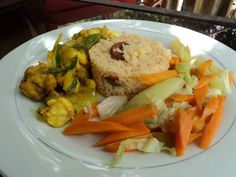 Curried Lobster served with Chorizo Rice and Steamed Vegetables at EITS Cafe, Blue Mountains, Jamaica