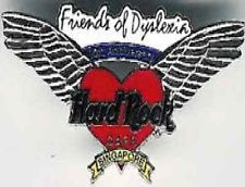 HARD ROCK CAFE PIN SINGAPORE 10TH ANNIVERSARY RED HEART W/WINGS #8846