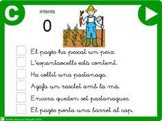 """Tercera activitat de la sèrie """"Petites Lectures 6"""" de l'Emilia Alcaraz Delgado adreçada a l'alumnat de l'últim curs d'Educació Infantil i de Primer de Primària, amb la que podran practicar la comprensió lectora de petites frases, a partir de la observació d'una imatge. NOTA: Els alumnes podran realitzar la lectura amb lletra de pal i lligada."""
