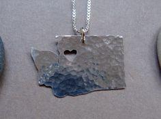 Washington State Necklace. $58.00, via Etsy.