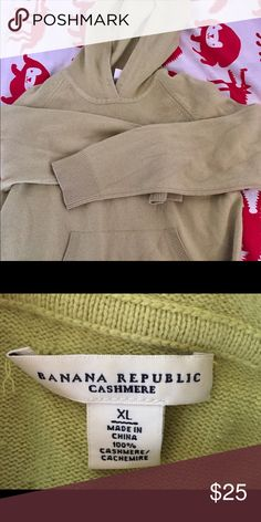 Banana republic Cashmere hoodie Celery colored hundred percent cashmere thick hoodie… In good shape Banana Republic Sweaters Shrugs & Ponchos