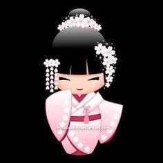 Vector illustration of a cute oriental bride kokeshi doll in a light pink/white bridal kimono with a dark red undergarment. The girl has white sakura fl. Momiji Doll, Matryoshka Doll, Kokeshi Dolls, Kokeshi Tattoo, Japanese Party, Japanese Doll, Asian Quilts, Doll Tattoo, Asian Doll