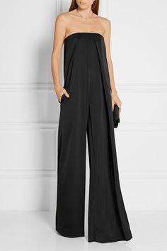 Solace London | Kadoc strapless satin-crepe jumpsuit | NET-A-PORTER.COM