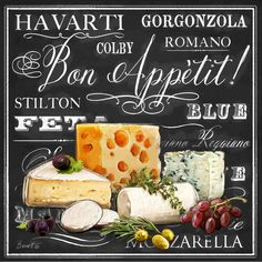 Gourmet Cheese Collection Canvas Art – Chad Barrett x – Wall Products Vintage Labels, Vintage Posters, Chad Barrett, Cheese Dessert, Dessert Plates, Gourmet Cheese, Plakat Design, Decoupage Paper, Chalkboard Art