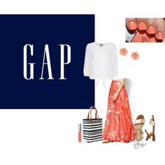 """""""Celebrate Summer with Gap!: Contest Entry"""" by destitutediva on Polyvore #fashion #womenswear #summerstyle #maxisirt #Gap #coral"""