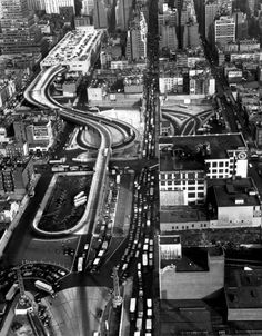 Margaret Bourke-White—Time & Life Pictures/Getty Images  Midtown Manhattan (with the entrance to a cross-river tunnel visible at lower left) photographed from a helicopter, 1952