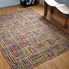 Extend your bohemian style to the floor with the Better Trends Criss Cross Braided Rug. This unique and colorful rug features natural and multicolored braided stripes in a visually appealing patchwork design. Braided Rugs, Rectangular Rugs, Jute Rug, Woven Rug, Recycled Fabric, Scrap Fabric, Indoor Rugs, Online Home Decor Stores, Online Shopping