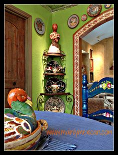 Mexican style home in USA - visit us at www.mainlymexican...I'm loving green walls!!