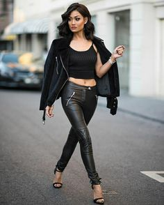 #Allblack #leather #winter #outfit #jacket #heels #casual #streetstyle #sexy #fashion #blogger  PINTEREST: @itsmissydiana
