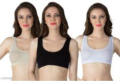 Sports Bra Women's Non Padded Sports Bra Fabric: Nylon Spandex Print or Pattern Type: Solid Padding: Non Padded Type: Sports Bra Multipack: 3 Sizes: Free Size (Underbust Size: 29 in Overbust Size: 35 in) Country of Origin: India Sizes Available: 30B, 32B, 34B, Free Size, 36B   Catalog Rating: ★4 (1365)  Catalog Name: Stylish Women Bra CatalogID_638334 C79-SC1409 Code: 792-4431886-996