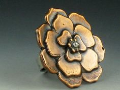 Large Copper Flower Ring by MicheleGradyDesigns on Etsy, $140.00