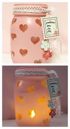 Easy-DIY-Valentine's Day-Votive. I love the warmth that radiates from this jar!