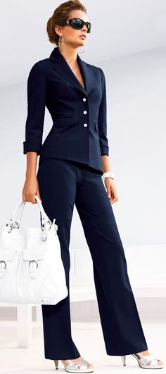 Navy, & Silver | Work Style. I would switch to a colored bag but I love the suit.