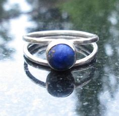 Lapis Lazuli Ring Hammered Silver Lapis Ring with Double