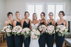Loving the colour composition of these stunning bridesmaids in the Shona Joy Core Cocktail - Navy