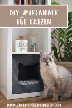 Sewing pattern cat cave made of felt for IKEA KALLAX shelf With video tutorial sugar and cinnamon Ikea Kallax Shelf, Ikea Kallax Hack, Ikea Kallax Regal, Ikea Outlet, Ikea Cat, Cat Hacks, Cat Cave, Diy Tv, Idee Diy