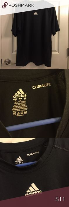 Adidas Climalite Shirt Black Climalite shirt, breathable and in good condition. Worn Once. Size Medium but runs a little big adidas Shirts Tees - Short Sleeve