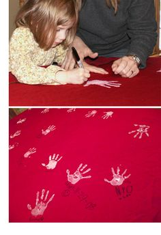 Family Tradition DIY Hand-print Tablecloth.  (see their hands grow and their handwritten name progress over the years)
