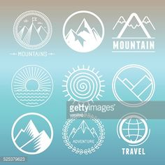 Vector mountain logos and emblems in outline style - abstract design elements and round badges