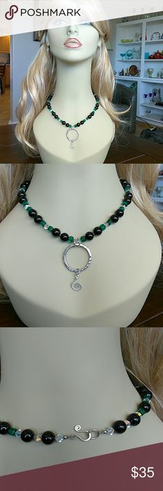 Onyx and Silver Necklace Looks great with casual or dressy outfits Jewelry Necklaces