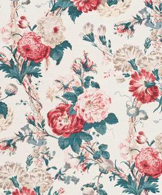 Tokyo Rose - Faded Teal on Beige — Bennison Fabrics Chintz Fabric, Fabric Roses, Ikat Fabric, Fabric Paper, Tokyo Rose, Wheat Flower, Cute Wallpapers, Print Patterns, Floral Patterns