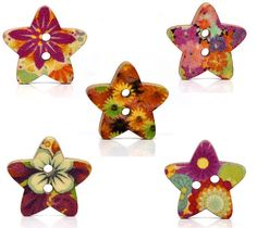 Painted Multicolor 2Hole STAR WOOD BUTTONS  18mm  by SmartParts on etsy.