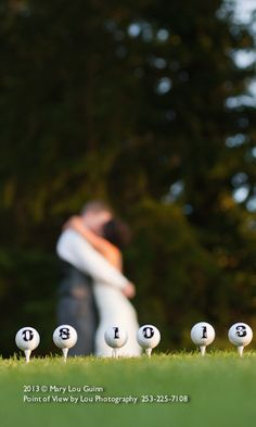 Golf Wedding Photo - Just Married - Wedding Date on Golf Balls   @ 2013 Mary Lou Guinn Point of View by Lou Photography    253-225-7108