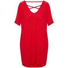 Red Jersey Back Strap Detail T Shirt Dress ($18) ❤ liked on Polyvore featuring dresses, red tee shirt dress, red day dress, tee shirt dress, jersey tee dress and strap dress