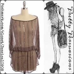 "Parker Brown Sheer Beaded Silk Tunic Top Parker Brown Sheer Beaded Silk Tunic Top  MSRP $110.00  Size: Medium  Measurements taken in inches:  Length: 33"" Bust: 36"" Waist: 22""  Material: Silk  Condition: Like New  Bundle discounts available  No pp or trades Parker Tops Tunics"
