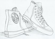 Gallery For > High Top Converse Drawing