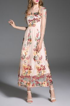 Blueoxy Apricot Embroidered Gauzy Evening Dress | Maxi Dresses at DEZZAL