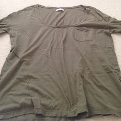 Aerie olive green loose top Comfy and soft fabric. Good condition. American Eagle Outfitters Tops