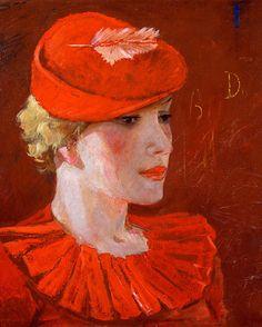 Парижанка / Parisian girl by Alexander Deineka Orange Art, Red Art, Russian Painting, Russian Art, Woman Painting, Painting & Drawing, Francis Picabia, Soviet Art, Soviet Union