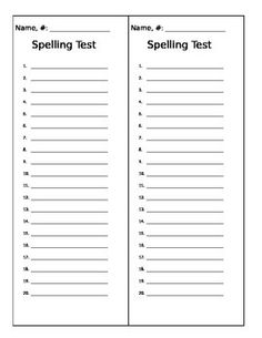 Blank spelling test template free ela spelling test for Test templates for teachers