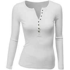 Doublju Womens Long Sleeve Thermal Cotton Henley T-Shirt ($17) ❤ liked on Polyvore featuring tops, t-shirts, cotton t shirts, long sleeve tees, white tee, white cotton tee and white henley t shirt