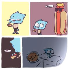 the amazing world of gumball hot dog guy Adventures Of Gumball, Simpsons Videos, Cn Cartoon Network, Old Shows, Kids Tv, Cartoon Shows, Fun Comics, Amazing Adventures, Disney Drawings