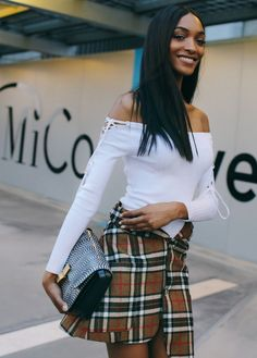 Jourdan Dunn spotted on the street at Milan Fashion Week. Photographed by Phil Oh.